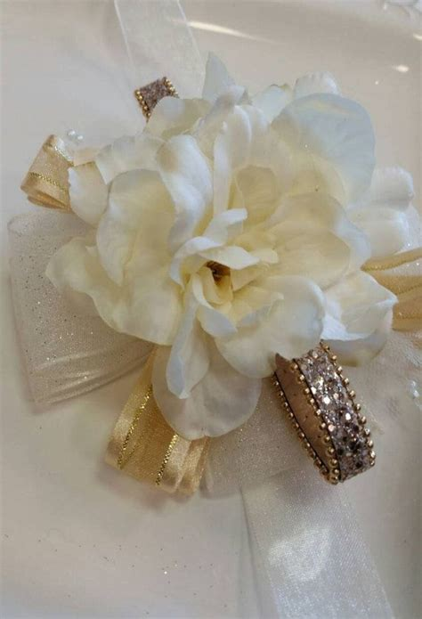 ON SALE Wrist Corsage Champagne and Gold with Matching