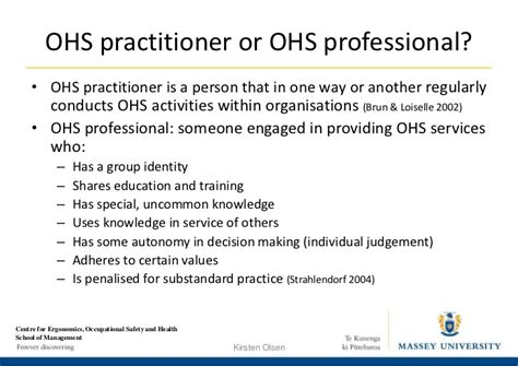 Occupational Health and Safety Practitioners' Roles