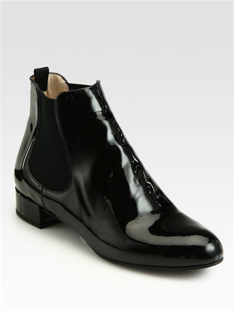 Lyst - Prada Patent Leather Ankle Boots in Black