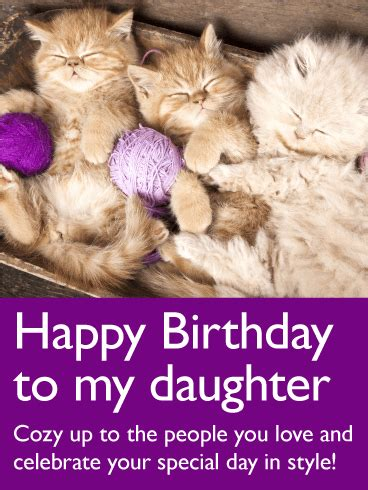 Adorable Cat Happy Birthday Card for Daughter | Birthday