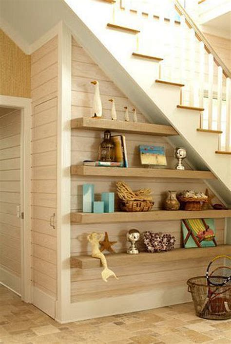 floating-shelves-under-stairs | HomeMydesign